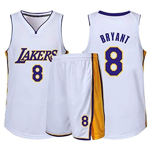RL Lakers Numero 8 Retro Ropa De Baloncesto, Chaleco Deportivo + Pantalones Cortos Conjunto De Dos Piezas, Adulto NiñO Ropa De Deporte Ropa Casual,Blanco,5XL