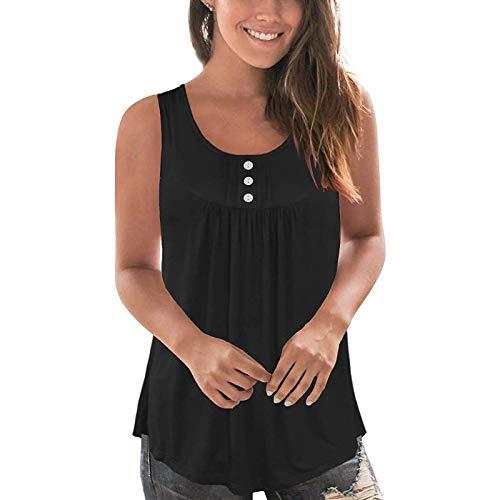 Camiseta sin mangas plisada para mujer, de color sólido, sin mangas, con botones, informal, plisada, sin mangas, para verano, informal