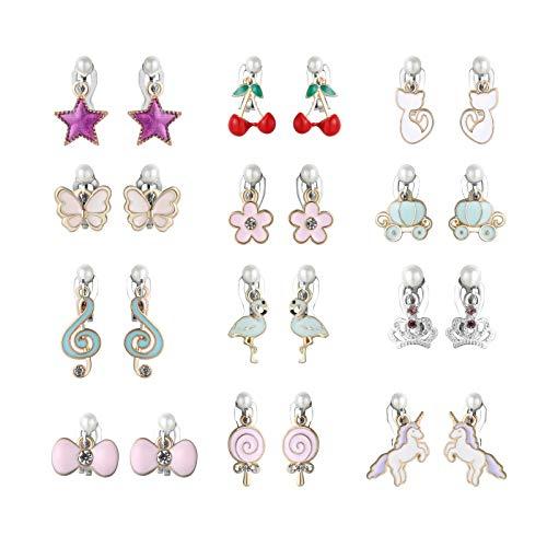 Powerking Boucles d'oreilles pour Filles, Clips pour Filles et Boucles d'oreilles Princess Dress Up Play pour Enfants, 12 Paires, Flamingo