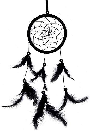 JJDSN Atrapasueños de Pared Decoración de Pared Negra Atrapasueños de Plumas Bonitas Decoraciones de atrapasueños para Colgar en la Pared