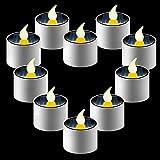 ZNYCYE 10 Pack Halloween Solar Tea Lights, Solar Powered Tealights Outdoor Indoor for Lanterns Window Camping Emergency Home Decor(Warm White)
