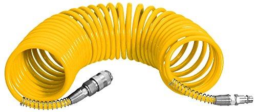 Proteco-Werkzeug® PU Druckluftschlauch Durchm 12/8 mm 5 Meter lang Spiralschlauch Luftschlauch Kompressorschlauch mit Schnellkupplung