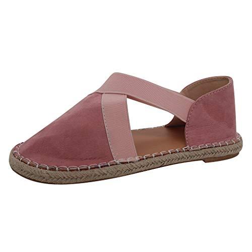 BOLUBILUY Summer Sandals for Women Closed Toe Cage Platform Flat Bottom Casual Cross Espadrilles Shoes Comfort Walking Pink