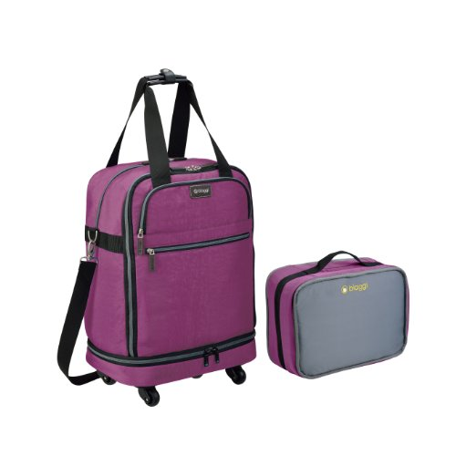 Biaggi Zipsak Micro Fold Spinner Carry-On Suitcase - 22-Inch Luggage - As Seen on Shark Tank - Purple