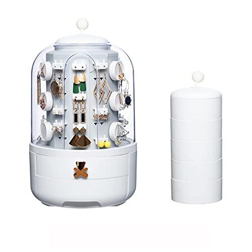 WUQIAO Boîte de Rangement pour Organisateur de Bijoux Rotatif 360, pour Affichage en Cuir de Collier de Boucle d'oreille, Cadeau de Femme,Blanc