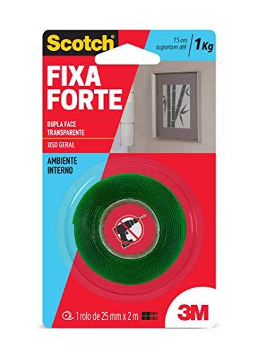 Fita Dupla Face 3M Scotch Fixa Forte Transparente - Uso Interno - 24 mm x 2 m