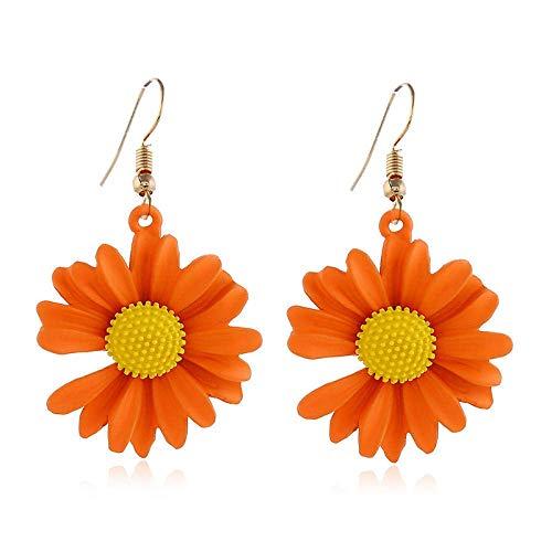 ZHENAO Pendientes para Mujer Pendientes de Crisantemo Pendientes de Flores Earings Girasol S925 Pendientes Blancos Pendientes de Color de Caramelo Ganchos para Las Compras Moda/na