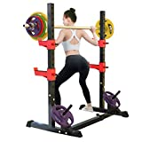 NENGGE Squat Rack Bench Press Height and Width Adjustable Lifting Stand Multi-Function Barbell Rack Home Gym Equipment Portable Fitness Training Machines Workouts Exercise for Indoor