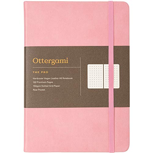 Notizbuch A5 dotted Bullet Journal | 150gsm Paper gepunktet | Luxus Dotted Notebook | The Pro von Ottergami (Rosa, Dotted)