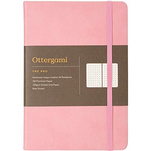 Cuaderno A5 | Libreta Diario de Puntos de Pasta Dura | Cuaderno Punteado con Papel 150gsm | The Pro de Ottergami (Rosa)