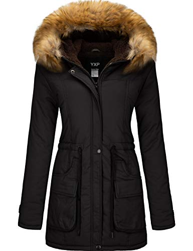 YXP Women's Winter Thicken Military Parka Jacket Warm Fleece Cotton Coat with Fur Hood (Black,S)