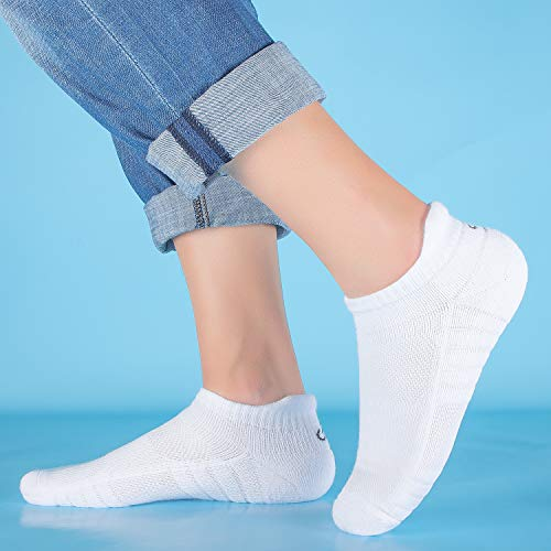 Anqier Mens Socks, 6 Pairs Running Socks for Women Anti-Blister Cushioned Cotton Odor-free Trainer Socks for Men Ladies Sports Ankle Breathable Athletic Socks