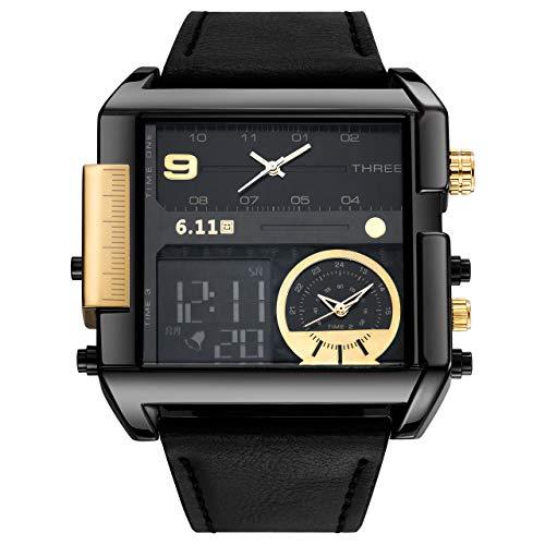Jsdde, orologio digitale da uomo, quadrato, elettronico, con cinturino in vera pelle, impermeabile fino a 3 atm, display LCD, sportivo, casual, business, militare, multifunzione, retroilluminato