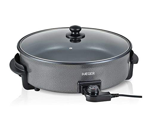 HAEGER Top Gourmet 42 - Paellera Eléctrica para Paella y Pizza, Cazuela Multiusos con Tapa de Vidrio, 5 Niveles con termostato y Antiadherente (1500W)