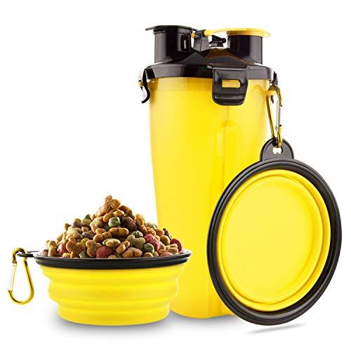 MATT SAGA Botella de Agua para Perros Portatil Envase de Comida para Perros con 2 Plegable Tazones para Perros Gatos Mascotas Adecuado para al Aire Libre Caminar Viajar (Amarillo)