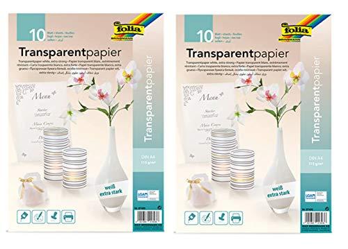 folia 87400 - Transparentpapier, DIN A4 (Weiß, 20 Blatt)