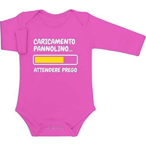 Shirtgeil Caricamento Pannolino, Attendere Prego. Regalo Neonato Body Neonato Manica Lunga 3-6 Mesi Rosa Wow