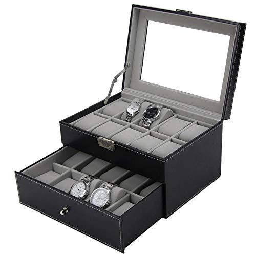 Yingm Soporte para Relojes de Caja de Almacenamiento Cuero de la PU de 20 bits Caja de Reloj Embalaje Caja de Almacenamiento Caja de Almacenamiento Regalos para Hombres Y Mujeres