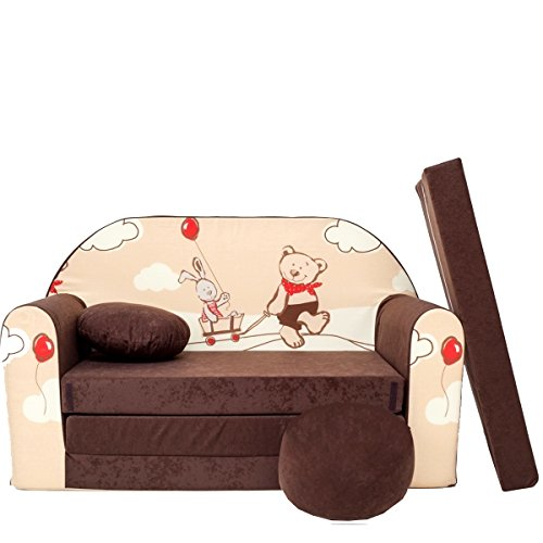 millybo Kindersofa Couch Kindercouch Spielsofa 3in1 Kinder Sofa Minisofa braun (MI-K26)
