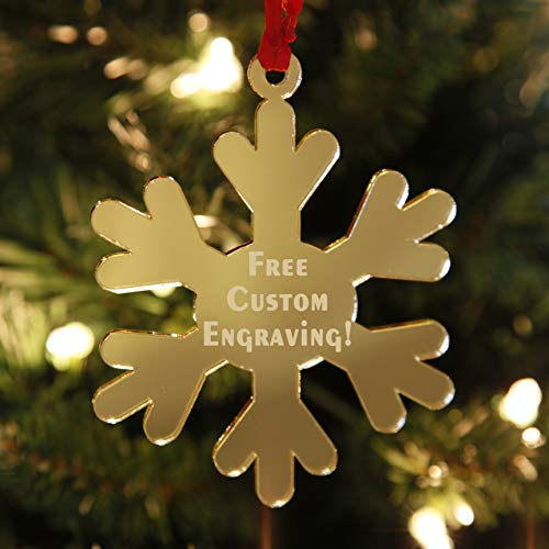 LHS Engraving | Personalized Snowflake Christmas Ornaments for 2020 | Custom Engraved Xmas Decorations for Tree, Mirrored Gold Acrylic, Shatter Resistant 1/8in Thick