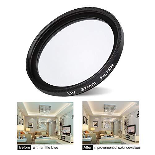 Guoshiy Accesorios para Lentes de cámara, Filtro de Lente UV de protección Profesional de 1.5 x 0.7 Pulgadas, mejoran la claridad para la cámara de 37 mm