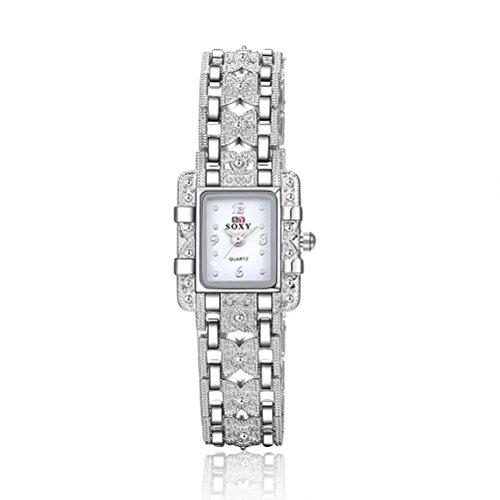 NICERIO Chic Reloj de Pulsera de Metal de Cristal para Las Mujeres Señora Reloj de Cuarzo (Blanco con Caja Negra)