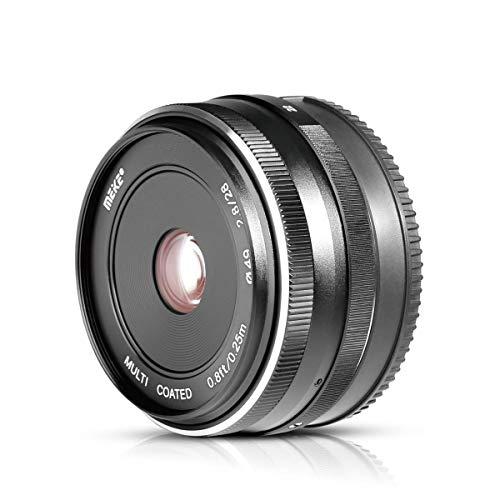 Voking VK-28 mm F2.8 M43 Fester manueller Fokus Objektiv für spiegellose Kamera Panasonic Lumix Olympus E-M1 E-PL GH4 GH8 GX8 GF3 GF2 GF1 GX1X GM1 G6 G7 GX7 GM5 mit Voking Objektiv-Reinigungstuch