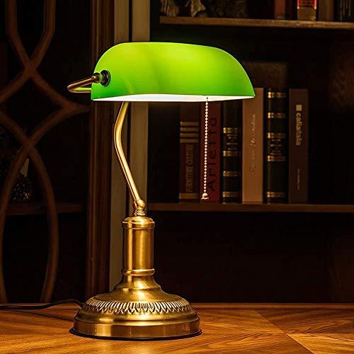 Lámpara de banquero tradicional, enchufe de latón, pantalla de cristal verde esmeralda hecha a mano, lámpara de mesa de oficina Vintage, lámparas de escritorio de estilo antiguo