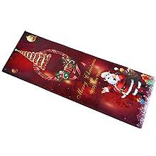 BHGT Alfombra Navidad 120 x 40cm Felpudo Entrada Casa Antideslizante Grande Decoración Hogar Sala de Estar Cocina Dormitorio Adorno Navideño