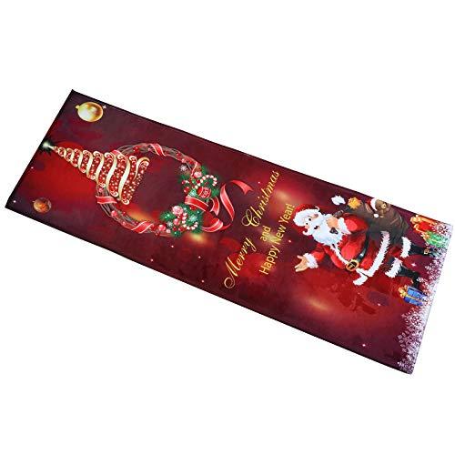 40cm x 117cm Weihnachtsteppich Rot Teppich läufer Weihnachten rutschfest Weihnachtsdruck Teppich Wohnzimmer Boden Küche Badezimmer Teppich Weihnachtsmann Waschbar