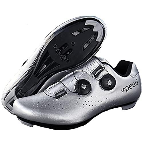AGYE Zapatillas de Bicicleta de Carretera Pro para Hombre,Ciclo de Centrifugado Transpirable,Zapatillas de Ciclismo de Carretera para Montar en Interiores con Bloqueo SPD,Silver(Road)-38