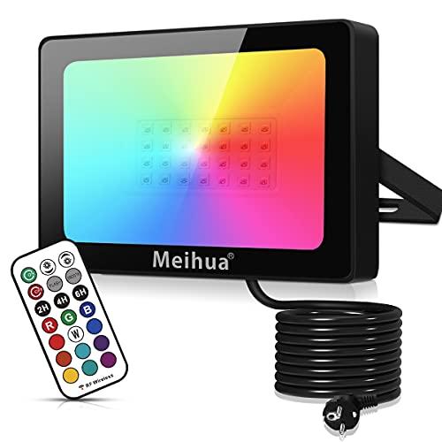 RGB Strahler 35W LED Strahler mit Fernbedienung IP66 Wasserdicht Fluter Farbwechsel Dimmbar 12 Farben 2 Modi, mit Timer, RGB Beleuchtung Außen für Garten Party Aussen Baum Stimmungslicht
