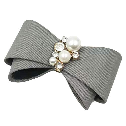 La Loria Damen 2 Schuhclips -Grey Mala- Schleife in Grau Schmuck-Accessoires für Schuhe