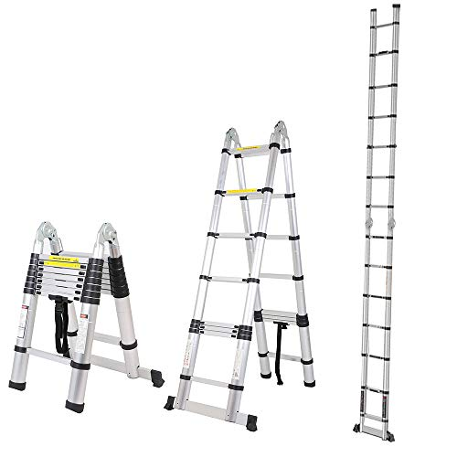 Soges 16.5 FT Telescoping Ladder Extension Ladder Aluminum Multi-Purpose A-Frame Folding Telescopic Ladder, 330 lbs Capacity, EN131 Standard, KS-JF-UP500D-2