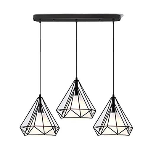 LLLKKK Lámpara de techo colgante retro con jaula de alambre de metal, ajustable en color negro, lámpara de techo industrial, lámpara de comedor de 3 colores con bombilla incluida