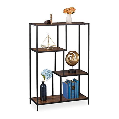 Relaxdays staande kast Vintage, industrieel design, open plank, houtlook, metaal, HBT: 114,5 x 77 x 33 cm, bruin-zwart, 1 stuk
