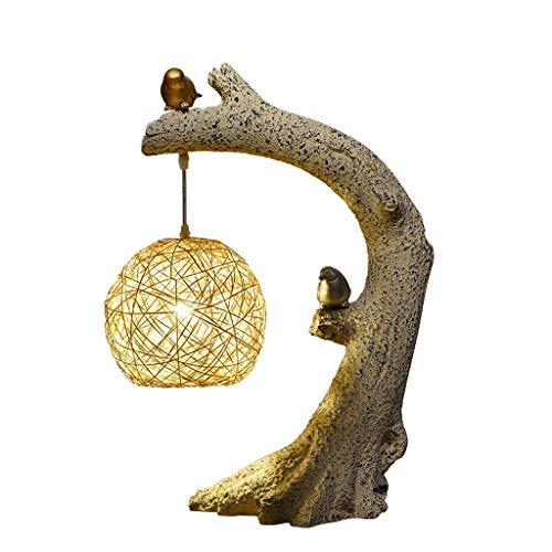 WPCBAA Rattan Ball tafellamp, tafeldecoratie, vogel terug naar de Nest E27 bedlampje voor de slaapkamer in de woonkamer