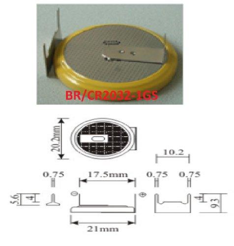 Eunicell 1 x 1GS-CMOS Batterie/Battery BIOS BR / CR2032-1GS mit Lötfahne 3V für PC EINWEG v