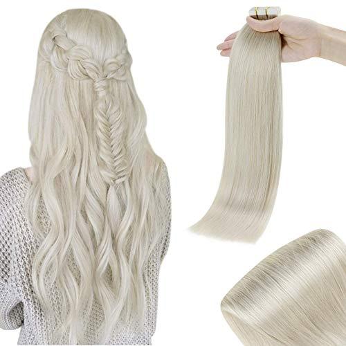 RUNATURE Haarverlängerung Tape Extensions Echthaar 14 Zoll 35cm 800 Weiße Blondine Echthaar Skin Weft 40g 20 Stücks Smooth Tapes Klebestreifen Extensions