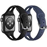 Supore iWatch Armband Kompatibel mit Apple Watch Armband 38mm 42mm, Männer & Frauen Weiches Silikon Schlanke Sport Ersatzarmband Kompatibel mit iWatch Series 6, 5, 4, 3, 2, 1, SE - Schwarz/Eisblau