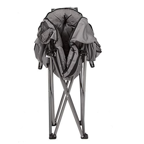 MacSports C932S-129 Padded Cushion Outdoor Folding Lounge Patio Club Chair, Gray