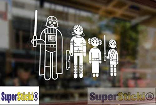 SUPERSTICKI Star Wars Family Auto Aufkleber Tuning Fun Lustig ca 20cm Autoaufkleber Hochleistungsfolie für alle glatten Flächen UV und Waschanlagenfest Tuning Profi Qualität