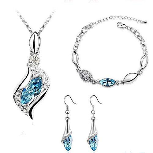 Malloom 1 Set Femmes Collier Pendentif Boucles D'oreilles Bijoux Bracelet