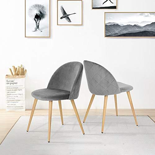 CLIPOP Juego de 2 sillas de Comedor tapizadas de Terciopelo con Respaldo y Patas de Transferencia de
