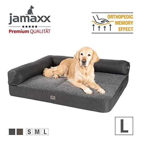 JAMAXX Premium 2-in-1 Hunde-Sofa - Orthopädische Memory Visco Füllung, Abnehmbare Polster und Bezug Waschbar, Hochwertiger Stoff Lammfell/Sherpa, PDB3014 (L) 120x90 anthrazit