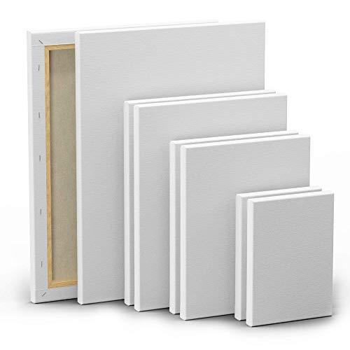 Set de 8 Lienzos para Pintar - 13x18cm 24x30cm 20x25cm 30x40cm - 100% Algodón sin Ácidos - Todo Tipo de Pintura para Telas Blancas