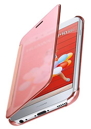 MoEx® Cover Sottile Compatibile con Huawei P10 Lite | Trasparente a Display Acceso/Lucida, Oro Rosato