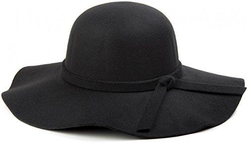 styleBREAKER Damen Floppy Fedora Filzhut mit abnehmbarem Zierband und Schleife 04025004, Farbe:Schwarz