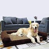 BingoPaw Divano Letto per Animali Domestici Cuccia Sofà per Cani in Memory Foam Letto Ortopedico Rivestimento Impermeabile Rimovibile Lavabile Marrone 95 x 72 x 22 cm