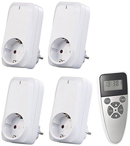 revolt Funkstecker: 4er-Set Funksteckdosen mit Fernbedienung, Display, Timer, 1.150 Watt (Zeitschaltuhr mit Fernbedienung)